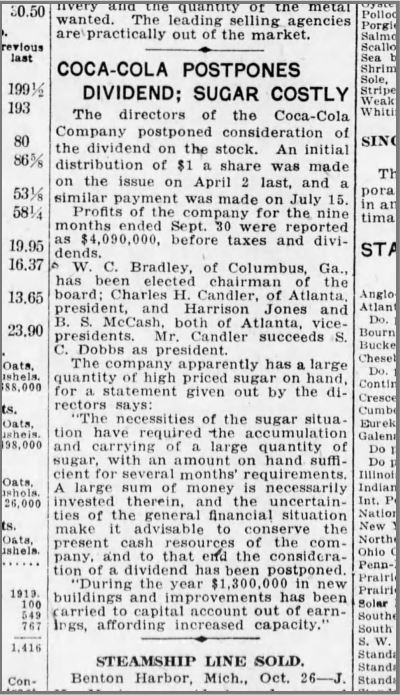 Coca-Cola 1920s Postpones Dividends