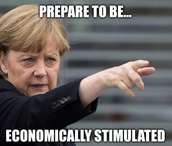 Germany and China join the economic stimulus bandwagon, and Wall Street loves it.