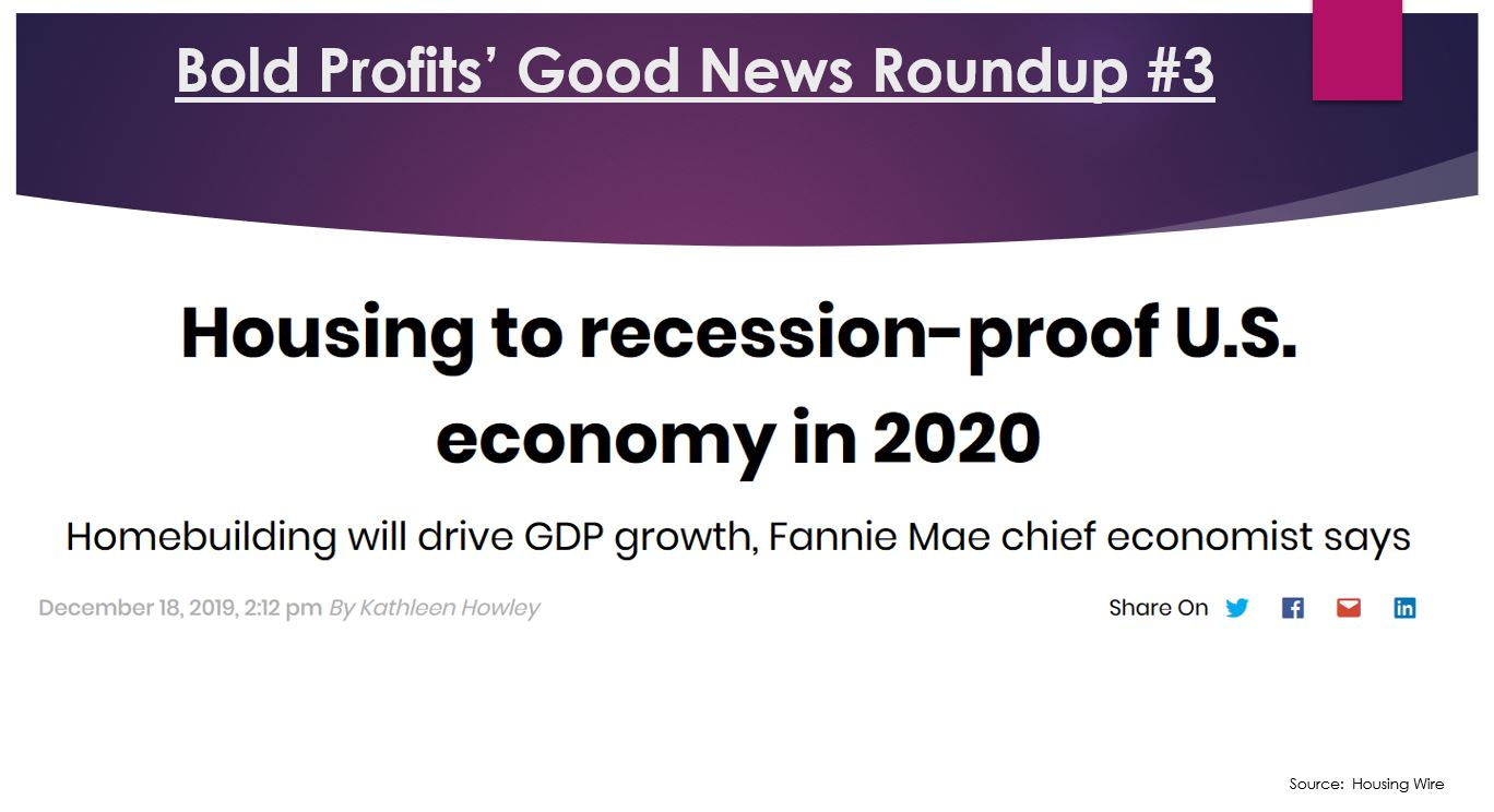 Fannie Mae's chief economist Doug Duncan is predicting that the U.S. housing market will have a recession-proof economy in 2020