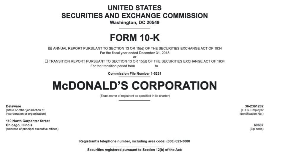 MacDonald's k-10 filing