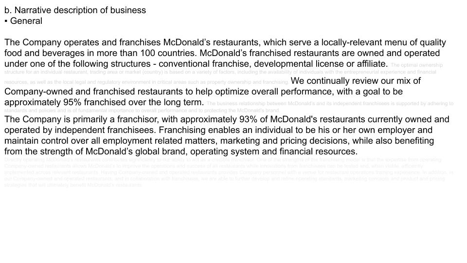 MacDonald's Narrative of Business