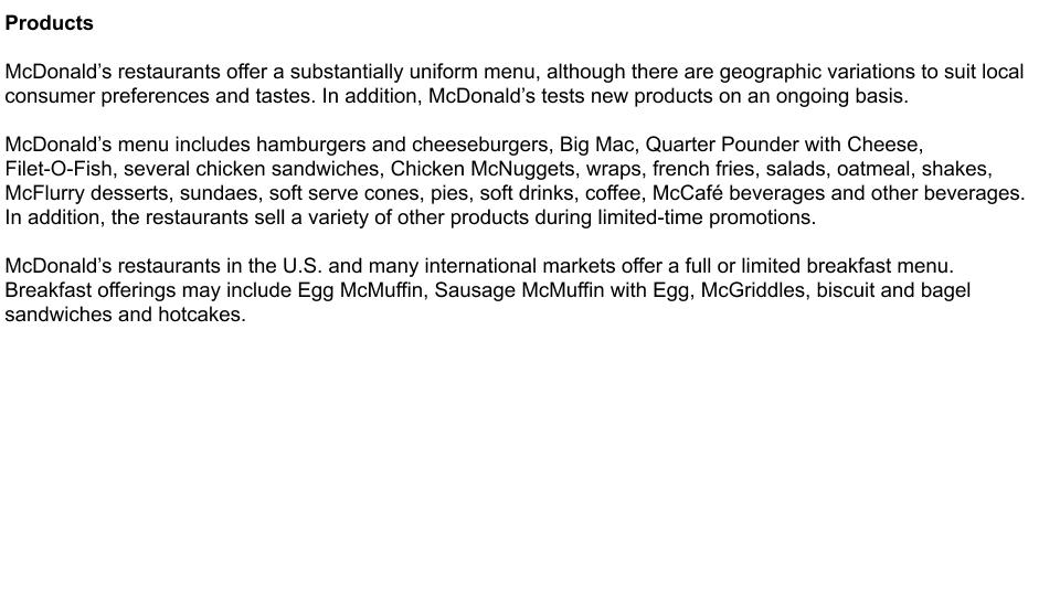 MacDonald's k-10 description of products