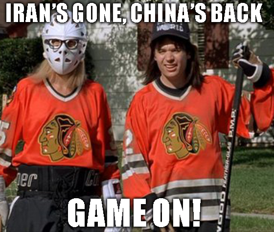 China's back, and the bears are gonna be in trouble. Hey la, hey la, China's back.