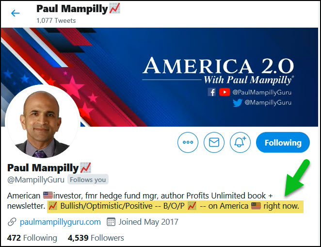 Paul's Twitter Bio Description