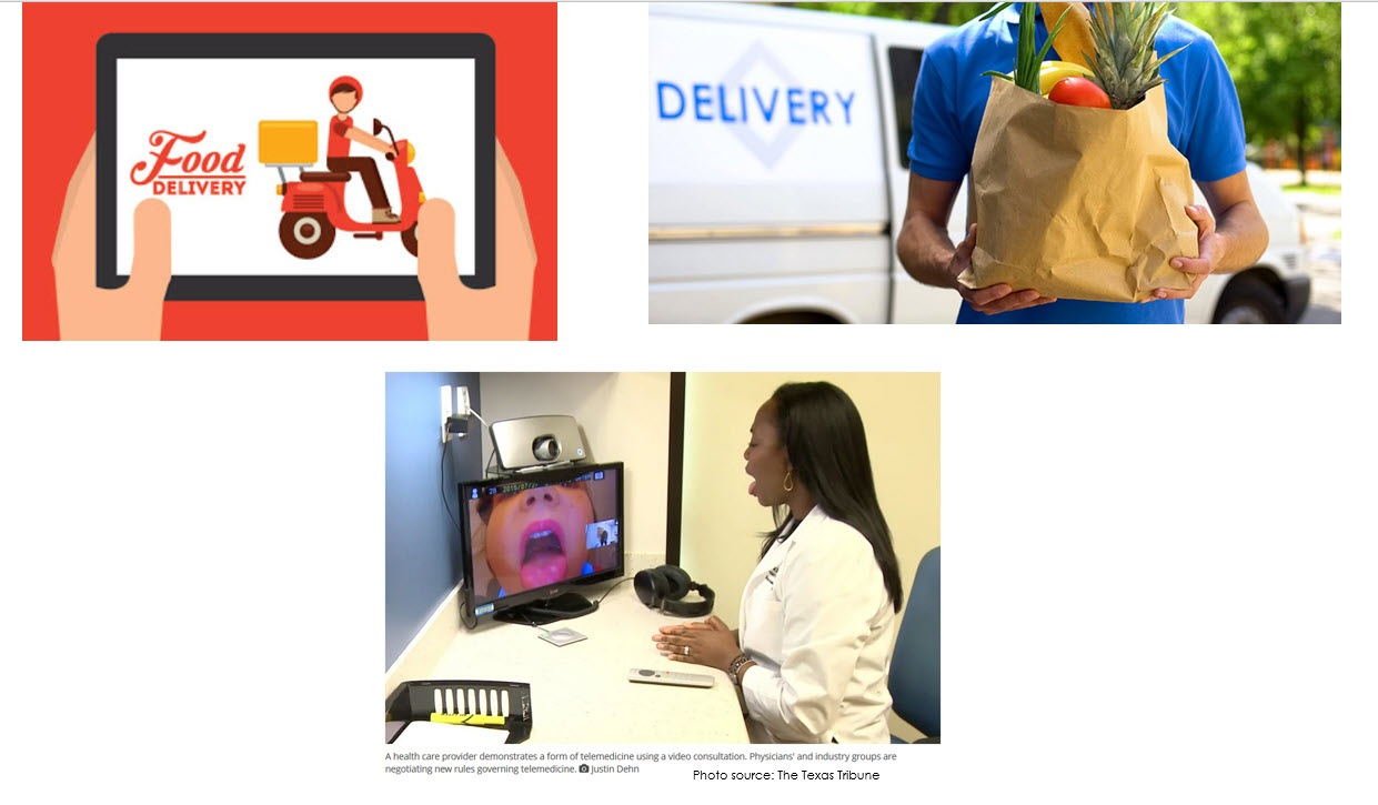 Photo montage-food delivery & telemedicine