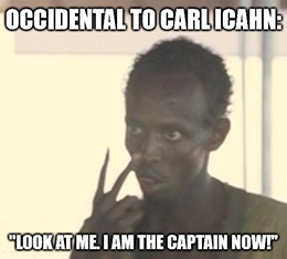 "Icahn not believe it, and neither could Occidental. Today, the company's board adopted a ""poison pill"" to prevent Carl from completely taking over."