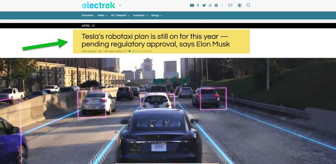 Electrek, Elon Musk stated that Tesla's robotaxi plan is still on for this year- pending regulatory approval.
