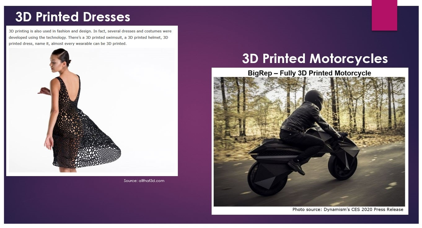 3D printing is boundless. From Dresses to Shoes and Buildings to Motorcycles!