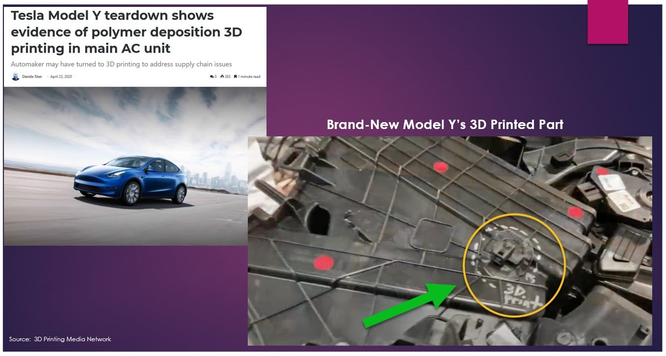 Because it appears certain parts for the brand-new just launched Model Y couldn't be delivered in time due to the pandemic disruptions, it looks like Tesla turned to 3D printing tech to fill the void.