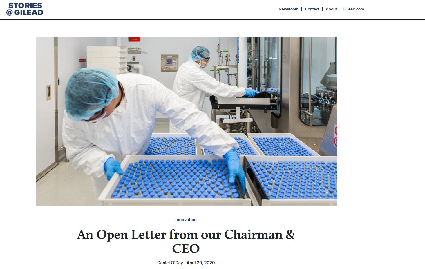 Gilead open letter from CEO