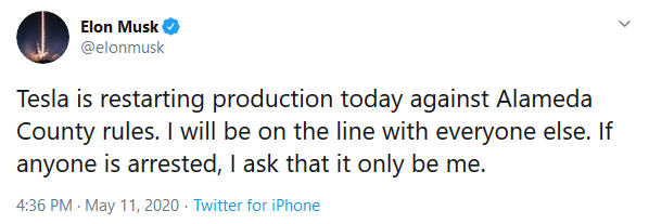 Tesla CEO Elon Musk on reopening Alameda County, CA, plant.