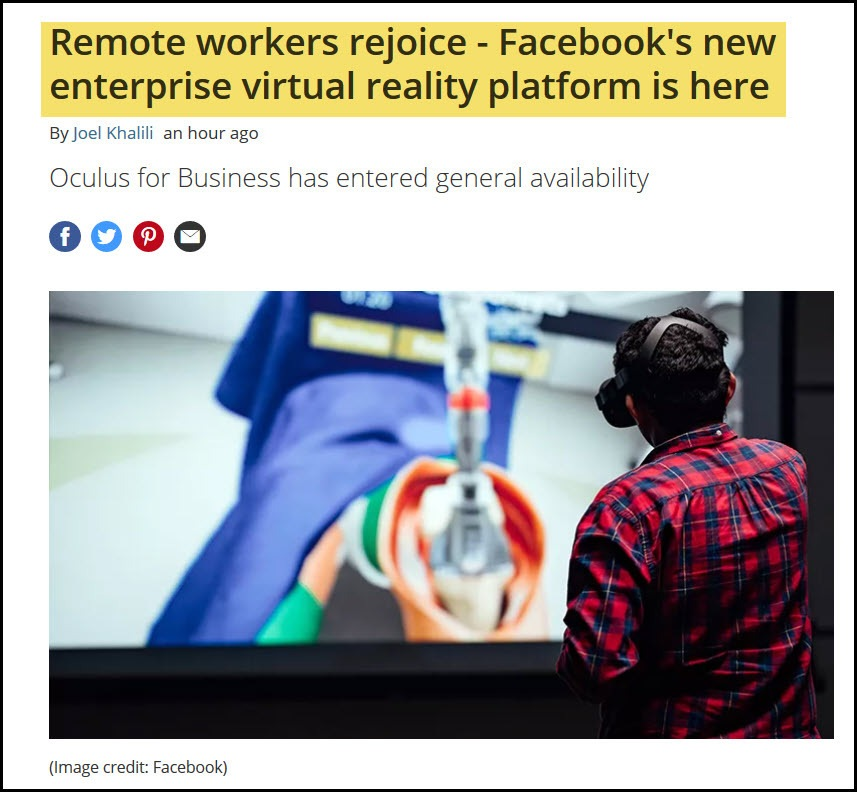 FB Oculus and Remote Work Gains