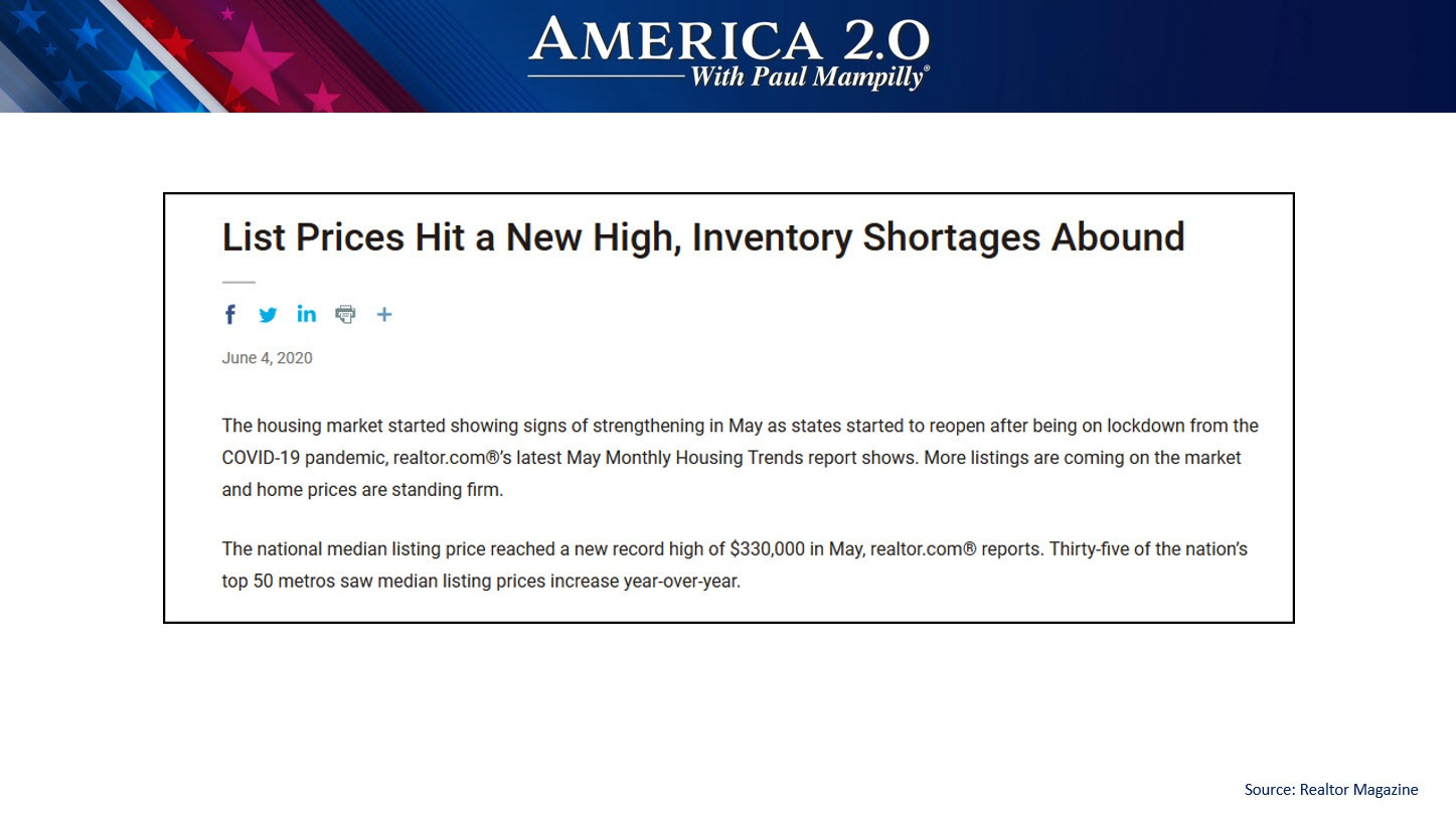 America 2.0 Home Prices- Inventory Shortage