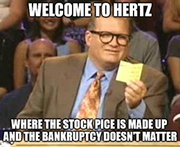 "From the ""what the H, E, double hockey sticks is going on?"" corner of the market: Bankrupt Hertz Global Holdings Inc. (NYSE: HTZ) wants to sell $1 billion in stock."
