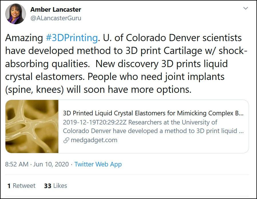 3D Printing Tweet June 2020