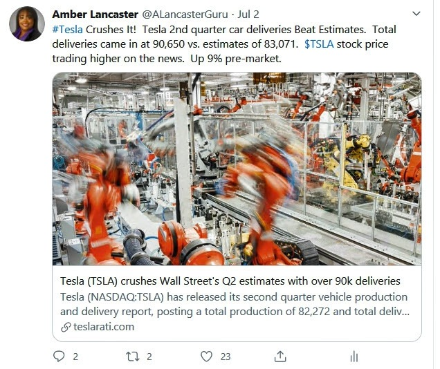Telsa Crushes Q2 Deliveries Tweet July 2020