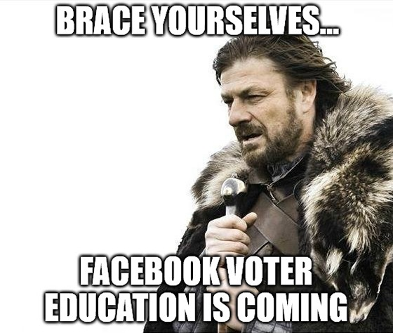 So, it's come to this … Facebook voter education and Congressional stimulus are all that stand between the market and Armageddon. Fun times.