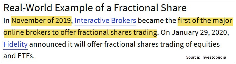 fractional share history
