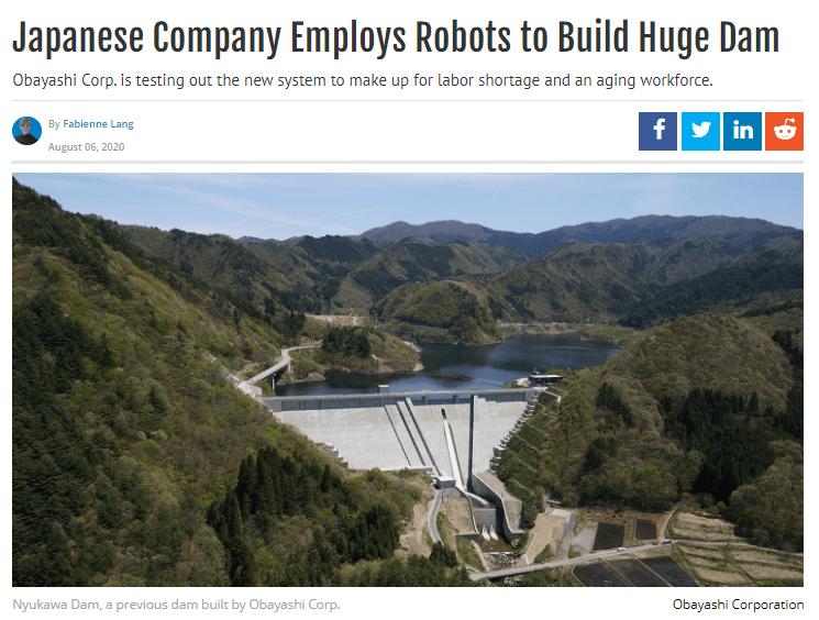 japanese company robots building dam