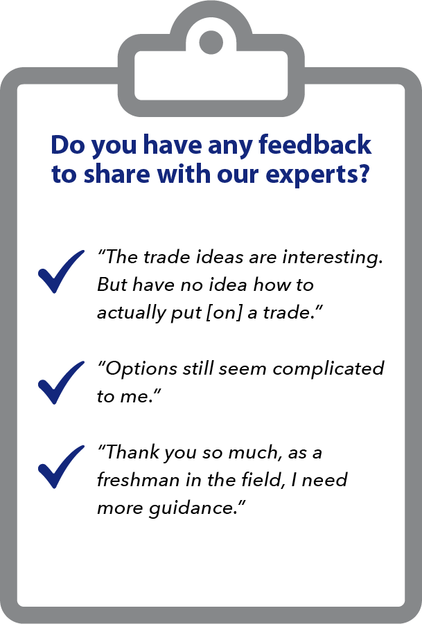 Image showing feedback we received from subscribers when we asked what they thought of options. Many of them feel that they are not prepared.