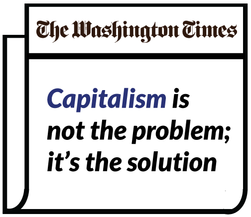 "Image showing newspaper headlined ""Capitalism is not the problem; it's the solution"""