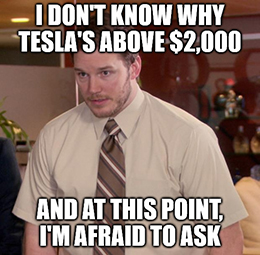 TSLA topped $2,000 for the first time ever yesterday, and there seems to be no stopping Tesla.