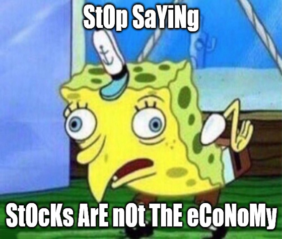 "Tired of hearing that ""stocks are not the economy?"" The truth hurts … not as much as jumping on a bicycle without a seat, but it hurts."