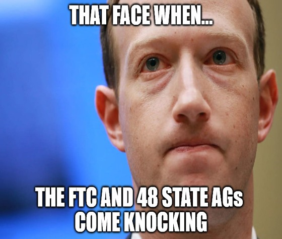 Facebook can run on for a long time. Run on for a long time. But sooner or later, the FTC will cut you down.