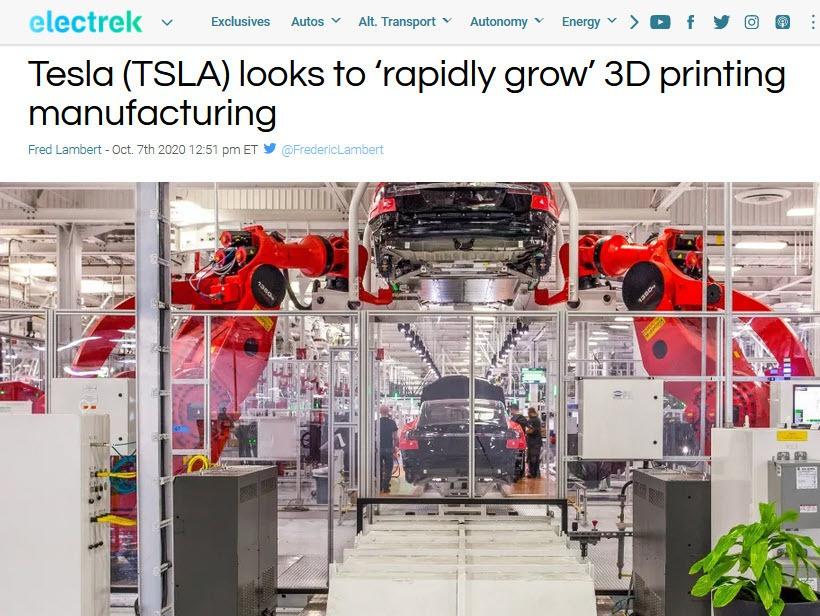 Tesla 3D Printing Article