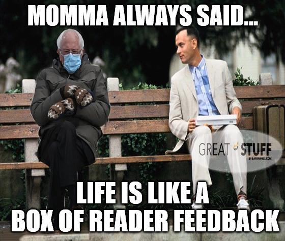 Bernie inauguration reader feedback meme