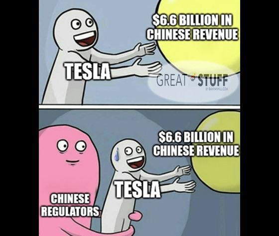 Tesla snatched by Chinese regulators meme big