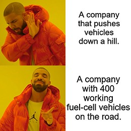 Hyzon doesn't push vehicles downhill meme