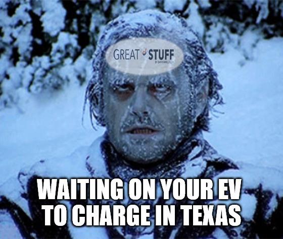 Frozen EVs charging Texas meme