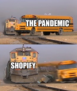 Shopify vs. the pandemic trains meme