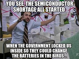Semiconductor shortage AMAT batteries in birds meme