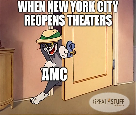 New York City reopens theaters AMC meme