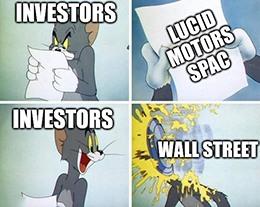 Investors pie in face Lucid Motors SPAC meme