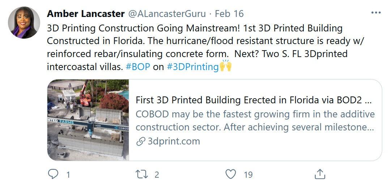 Tweet 3D Printed Farms FL 022221