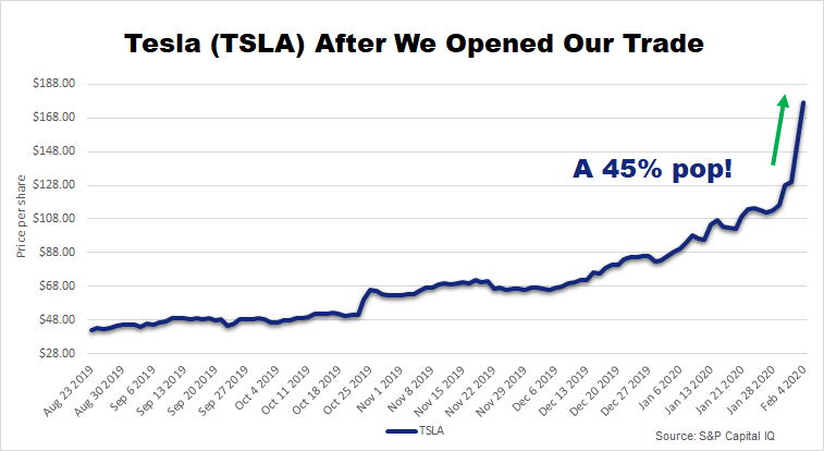 Chart showing that Tesla popped 45% right after the recommendation.