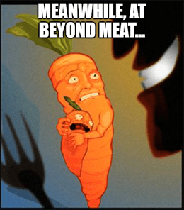 Beyond Meat's beyond scared carrots meme