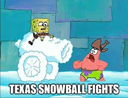 Spongebob Texas snowball fight NRG meme