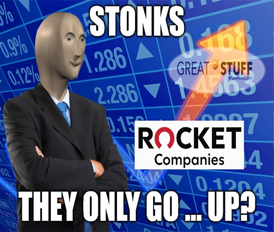 Stonks only go up Rocket companies meme