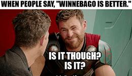 Winnebago vs. Thor earnings March 2021 meme
