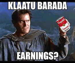 Klaatu Barada Campbell's earnings meme