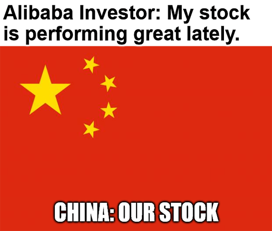 BABA vs. China our stock performing great lately meme big
