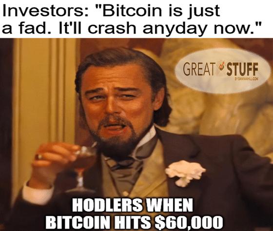 Bitcion $60K Laughing Leo meme