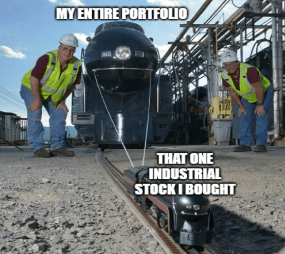 One railroad stock pulling portfolio GS meme big