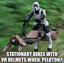 Stationary bikes with VR helmets when Peloton meme