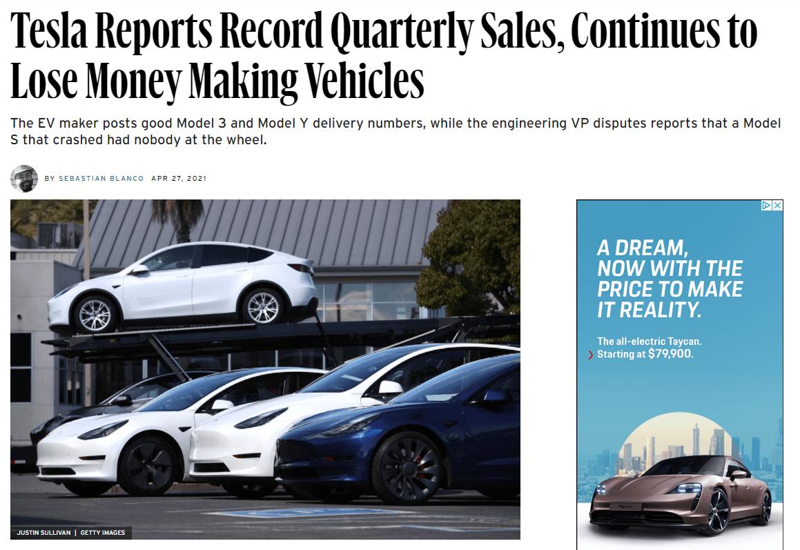 tesla quarterly earnings lose money news headline
