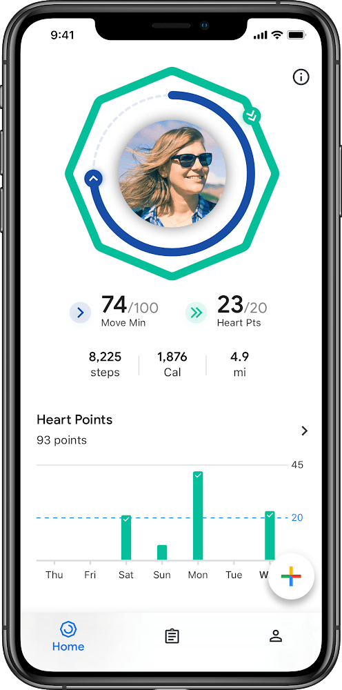google fit health app dashboard example